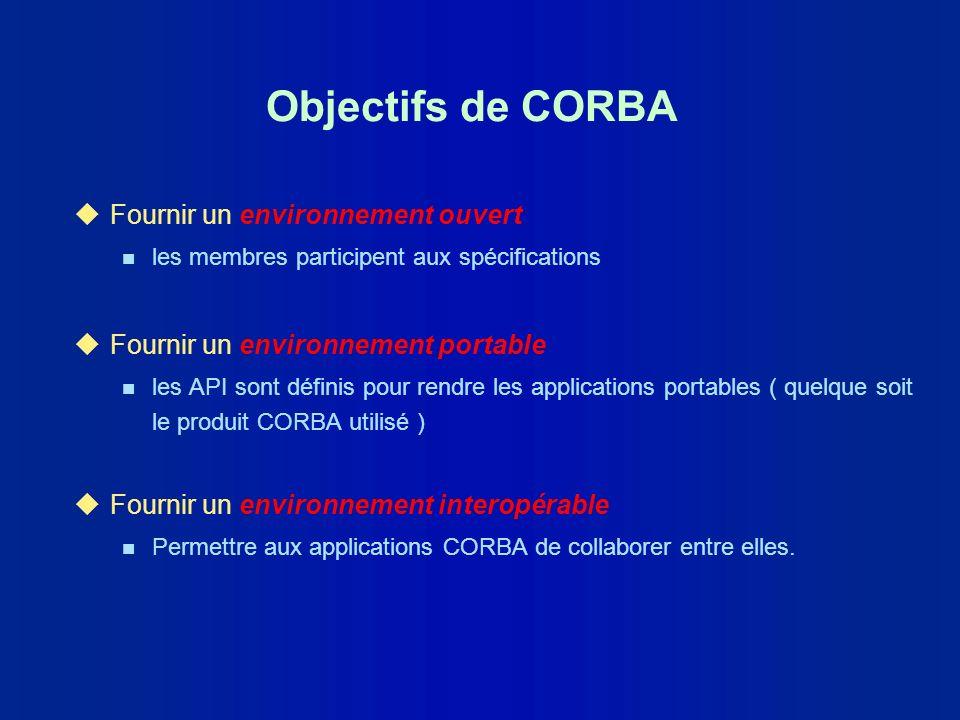 Objectifs de CORBA Fournir un environnement ouvert
