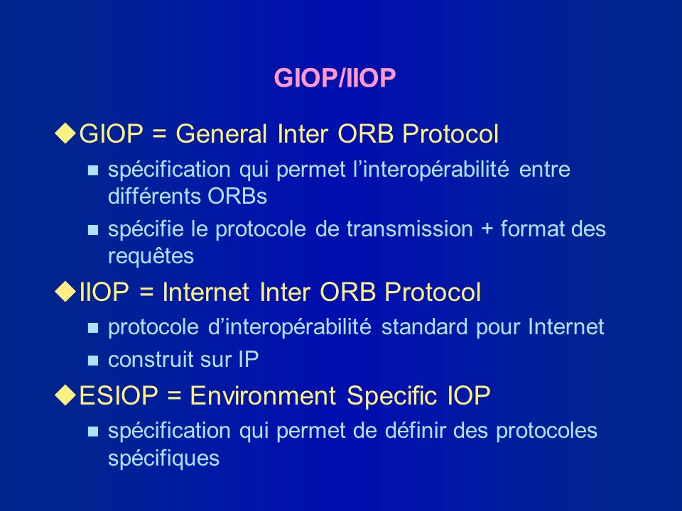 GIOP = General Inter ORB Protocol