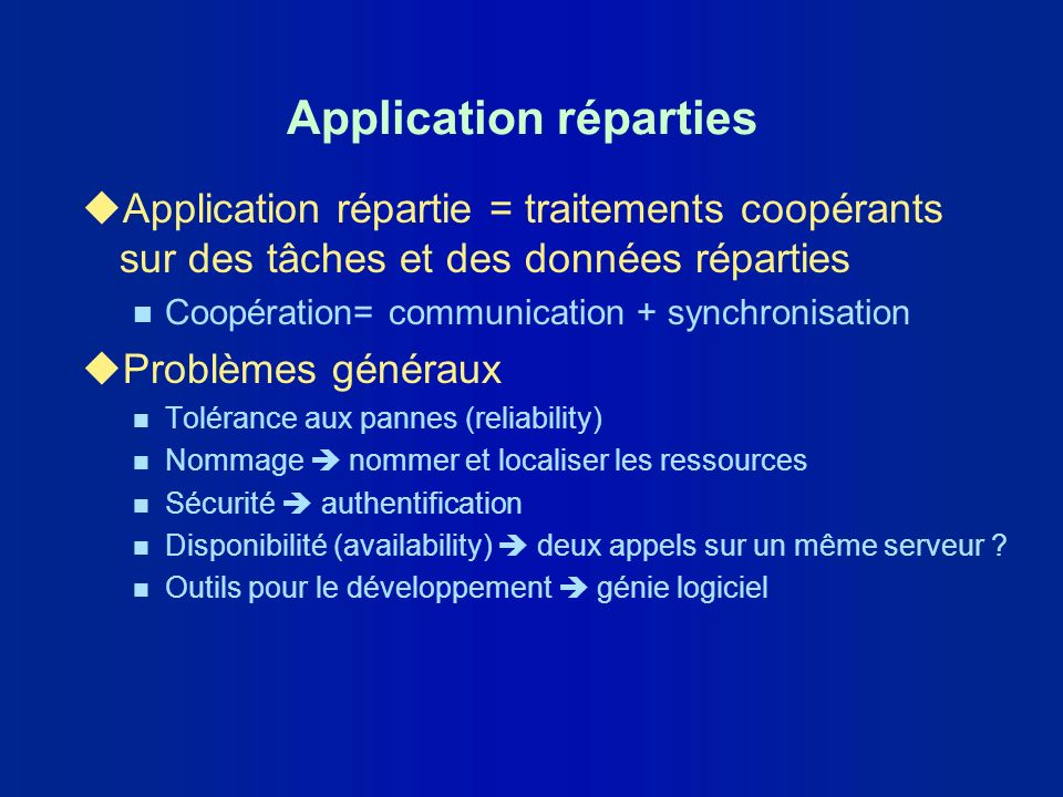Application réparties
