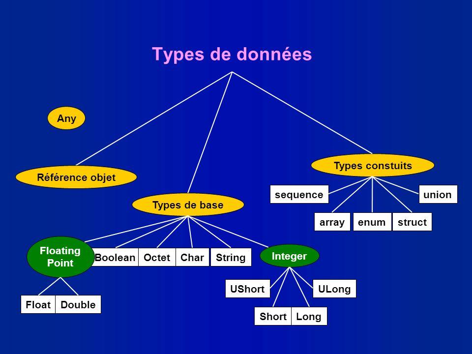 Types de données Any Types constuits Référence objet sequence union