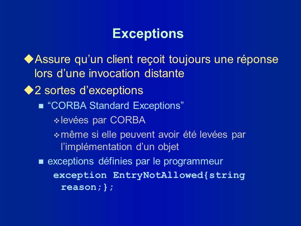 Exceptions Assure qu'un client reçoit toujours une réponse lors d'une invocation distante. 2 sortes d'exceptions.