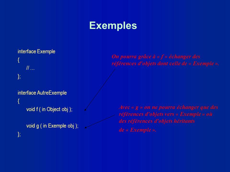 Exemples interface Exemple { // … On pourra grâce à « f » échanger des