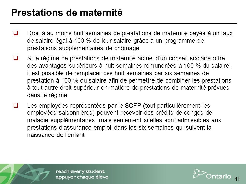Prestations de maternité