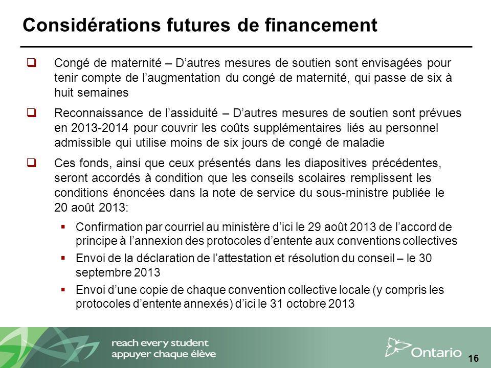 Considérations futures de financement