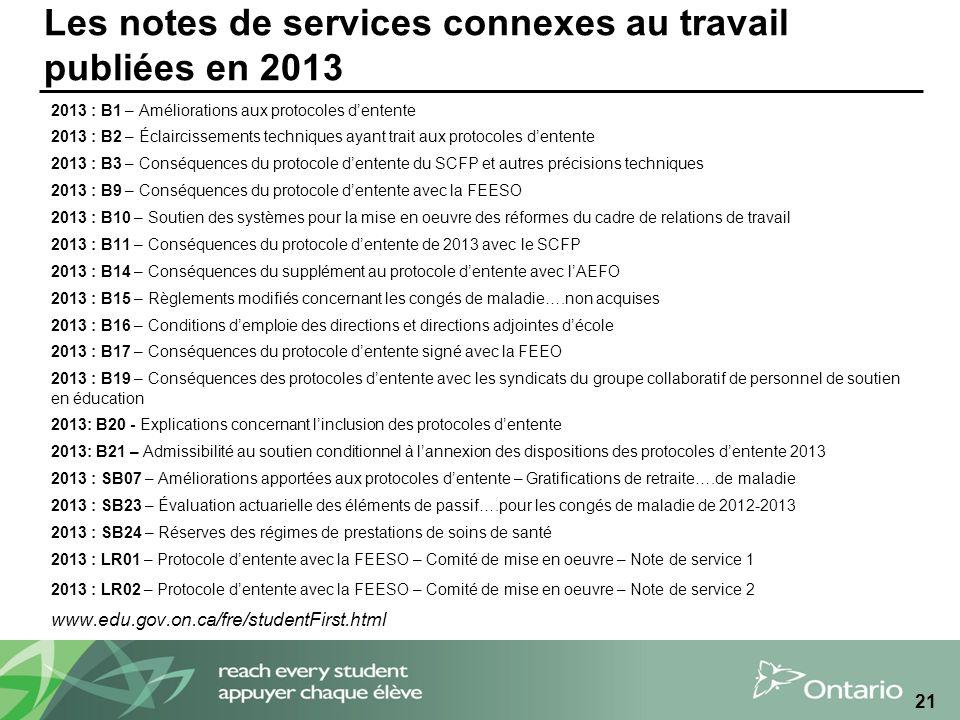 Les notes de services connexes au travail publiées en 2013