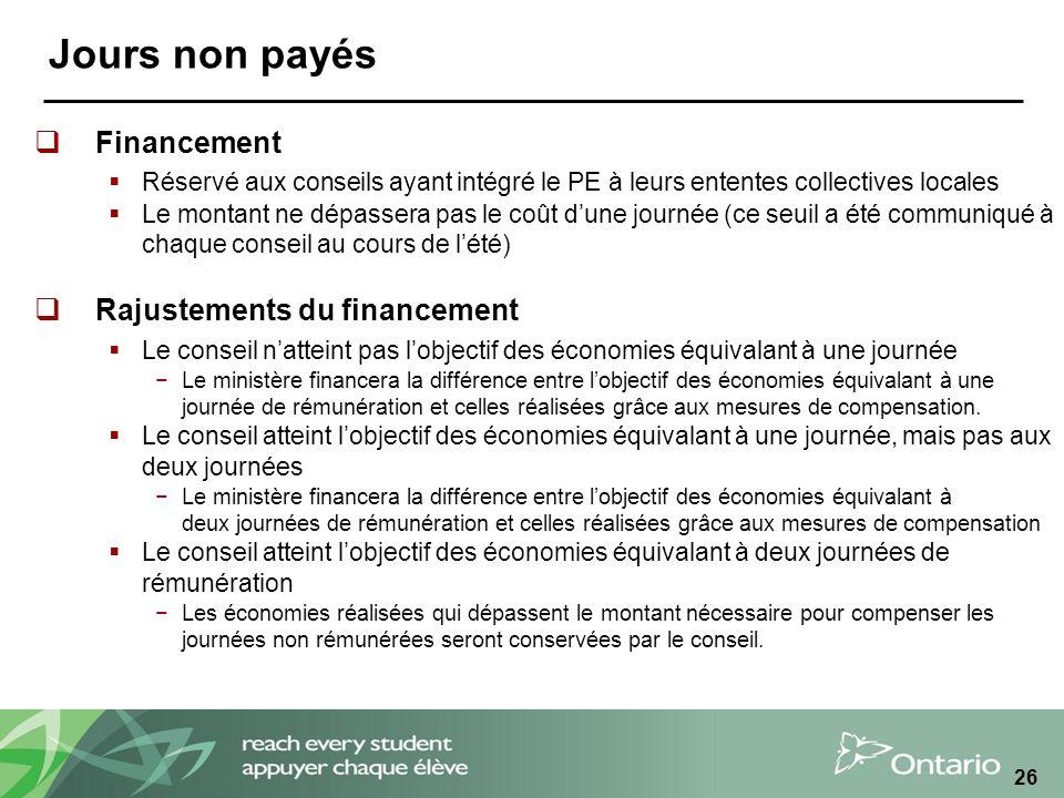 Jours non payés Financement Rajustements du financement