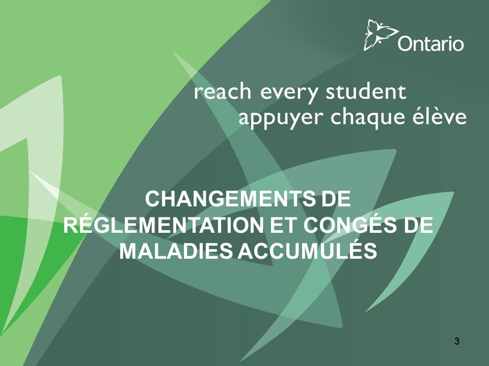 CHANGEMENTS DE RÉGLEMENTATION ET CONGÉS DE MALADIES ACCUMULÉS