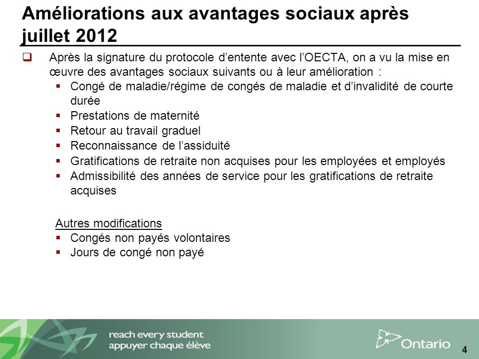 Améliorations aux avantages sociaux après juillet 2012