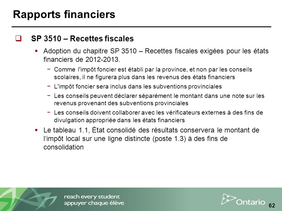 Rapports financiers SP 3510 – Recettes fiscales