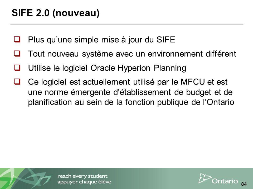 SIFE 2.0 (nouveau) Plus qu'une simple mise à jour du SIFE