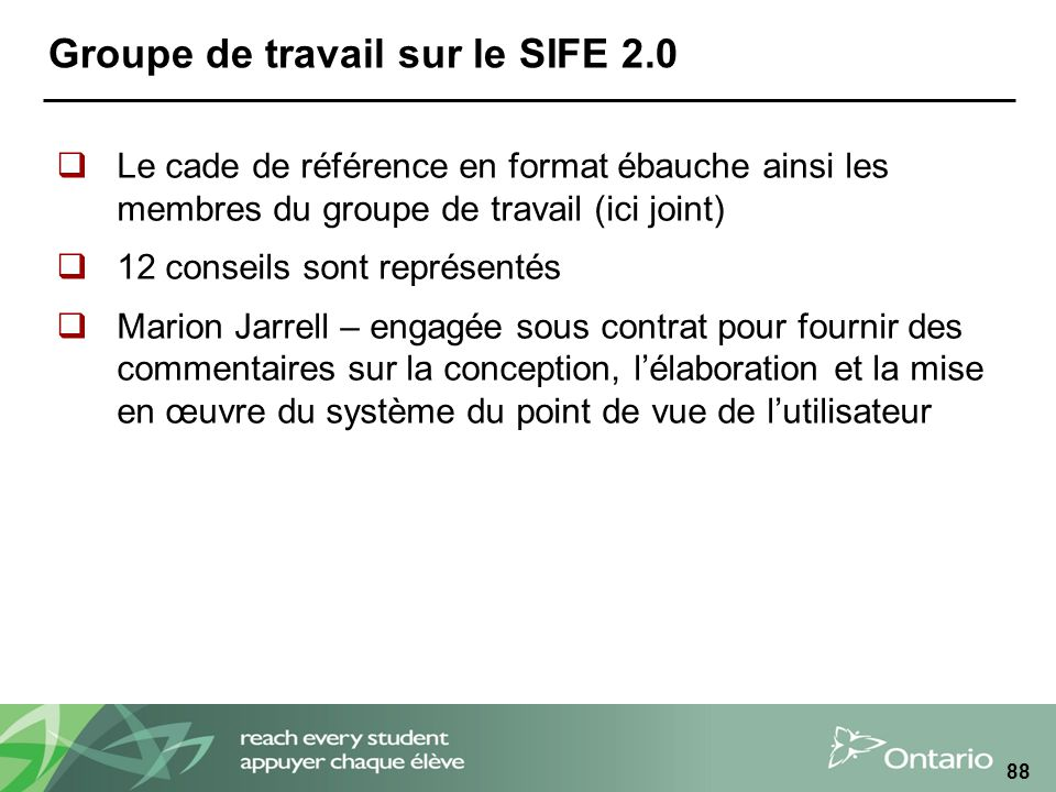 Groupe de travail sur le SIFE 2.0