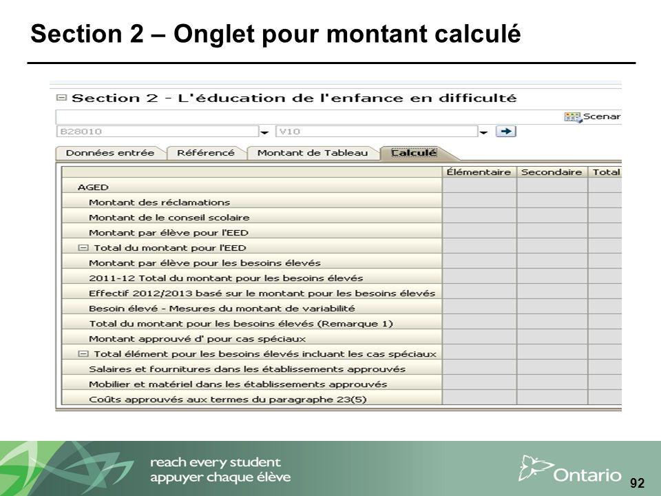 Section 2 – Onglet pour montant calculé