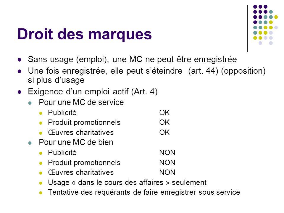 Droit des marques Sans usage (emploi), une MC ne peut être enregistrée