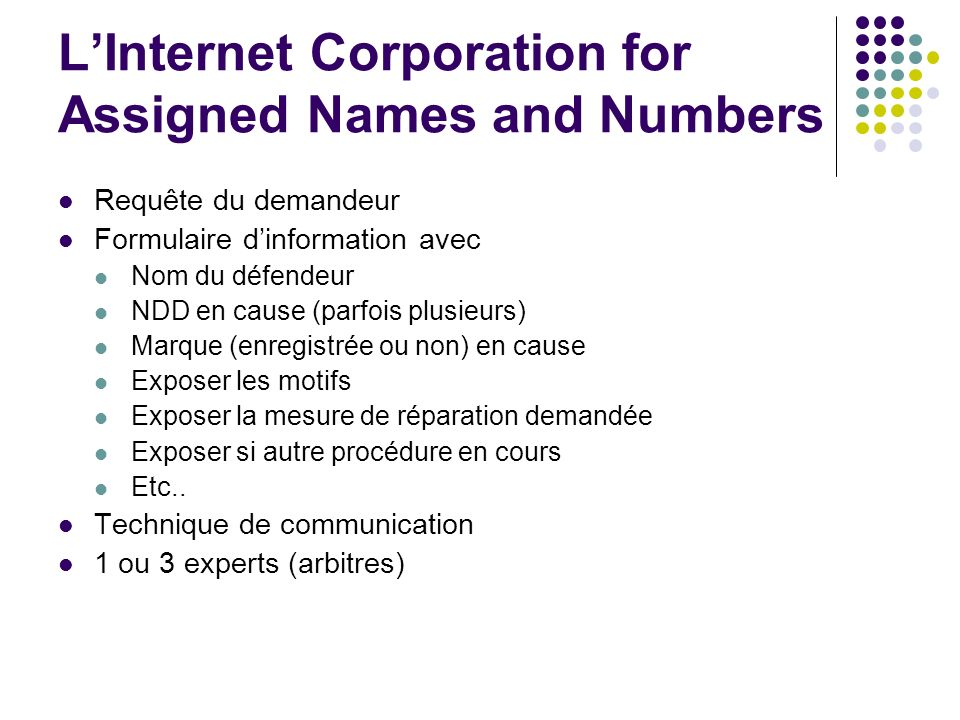 L'Internet Corporation for Assigned Names and Numbers