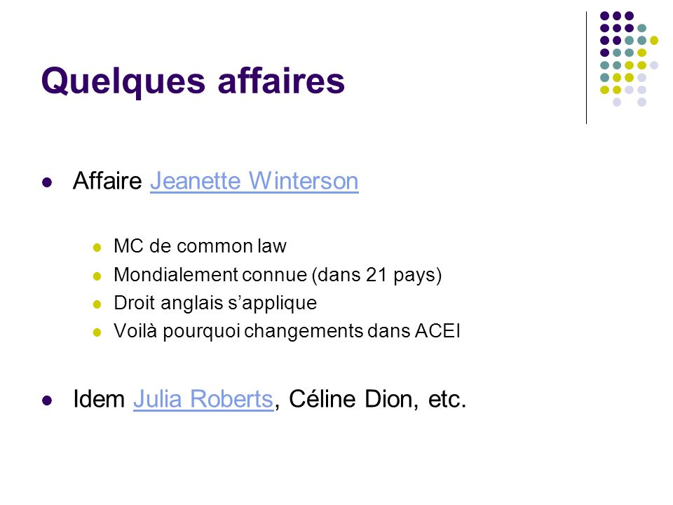 Quelques affaires Affaire Jeanette Winterson