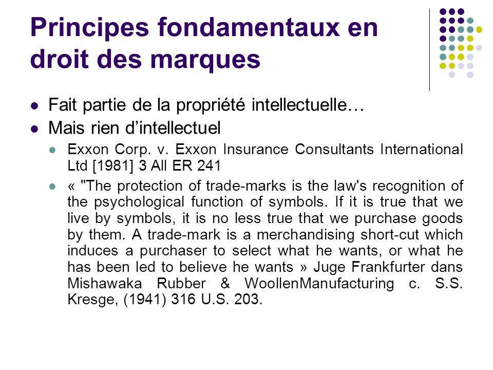 Principes fondamentaux en droit des marques