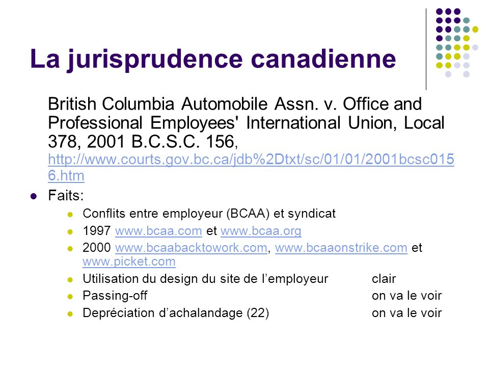 La jurisprudence canadienne