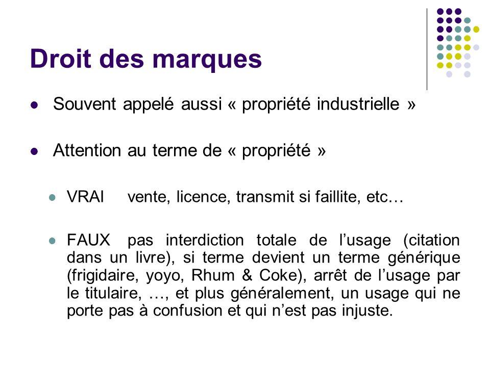 Droit des marques Souvent appelé aussi « propriété industrielle »
