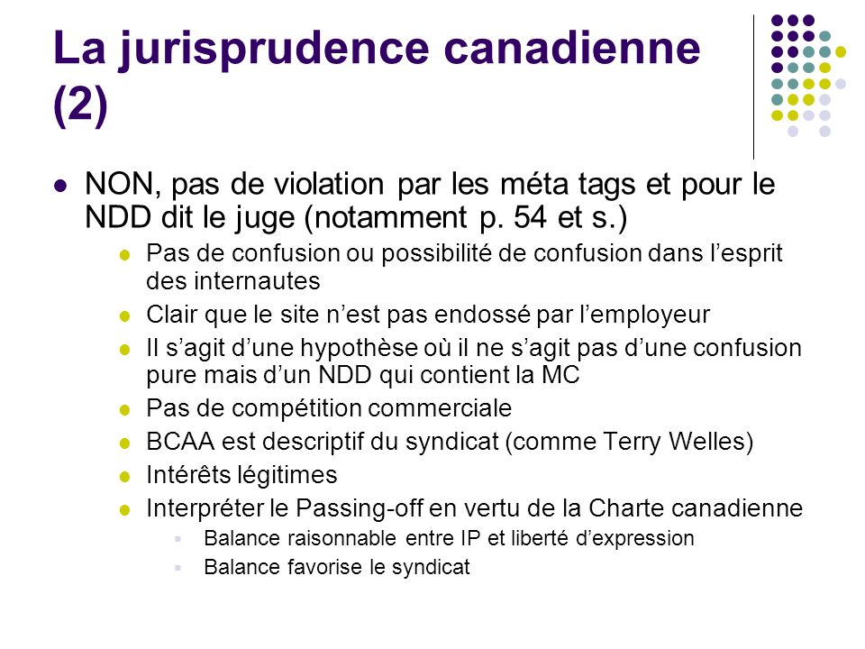La jurisprudence canadienne (2)