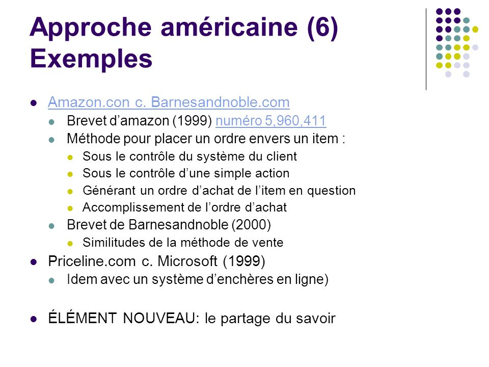 Approche américaine (6) Exemples