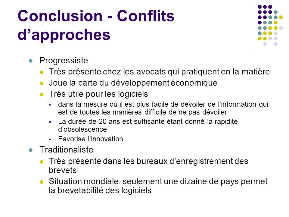 Conclusion - Conflits d'approches