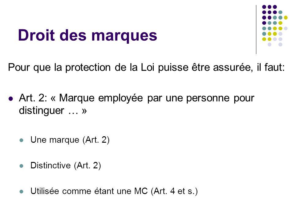 Droit des marques Pour que la protection de la Loi puisse être assurée, il faut: Art. 2: « Marque employée par une personne pour distinguer … »