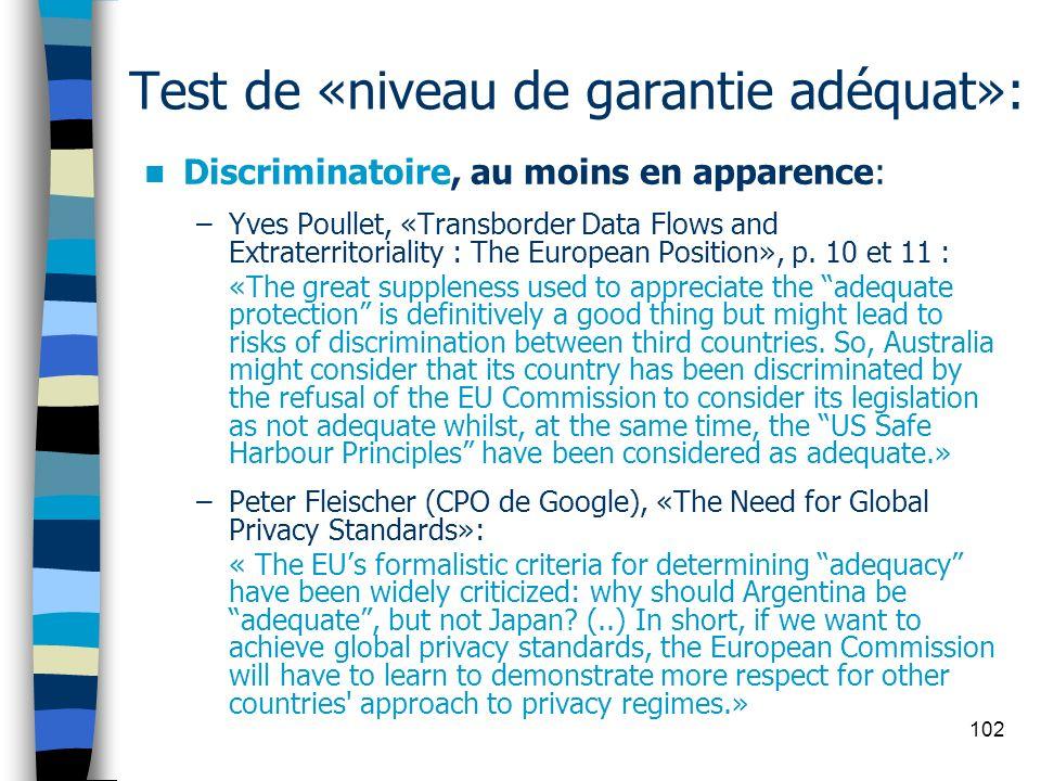 Test de «niveau de garantie adéquat»: