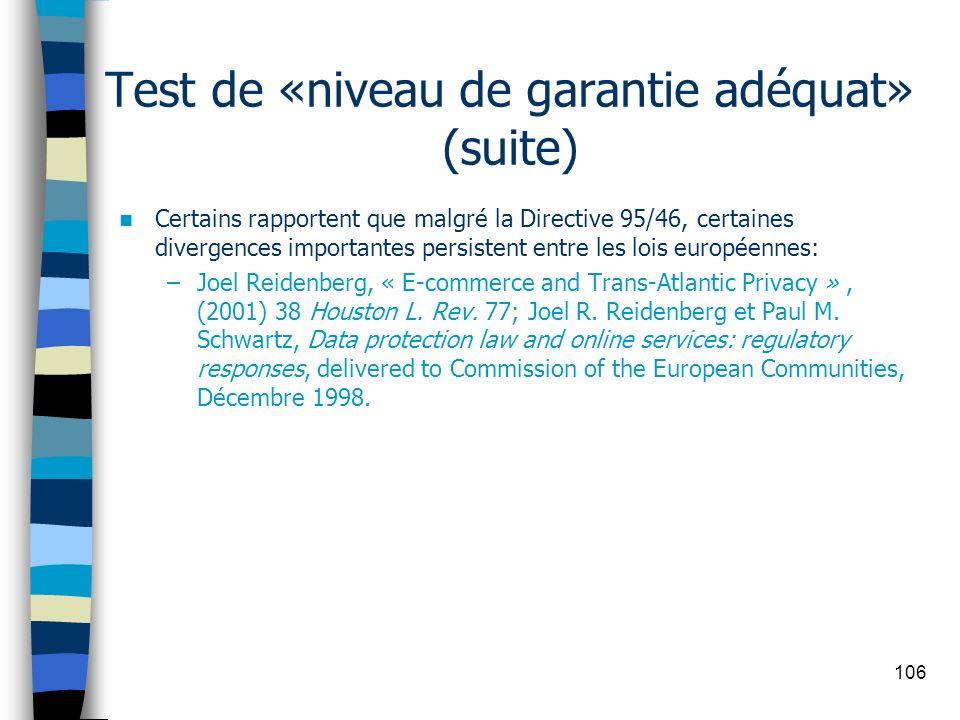 Test de «niveau de garantie adéquat» (suite)