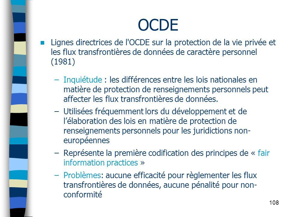 OCDE Lignes directrices de l OCDE sur la protection de la vie privée et les flux transfrontières de données de caractère personnel (1981)