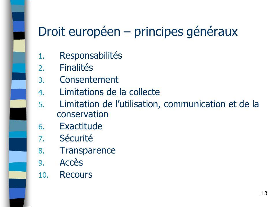 Droit européen – principes généraux