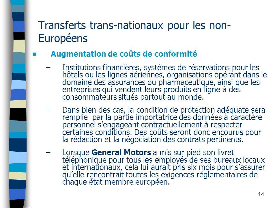 Transferts trans-nationaux pour les non-Européens