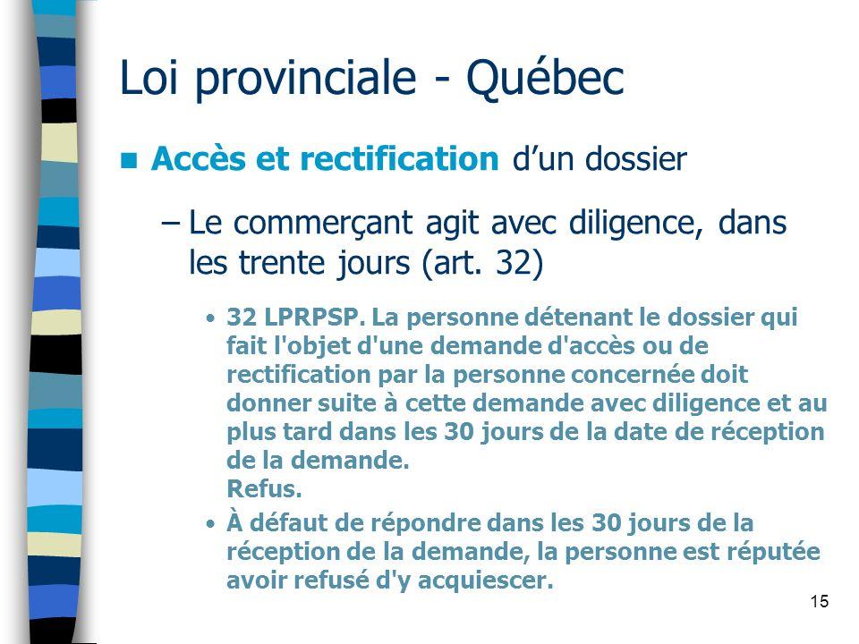 Loi provinciale - Québec