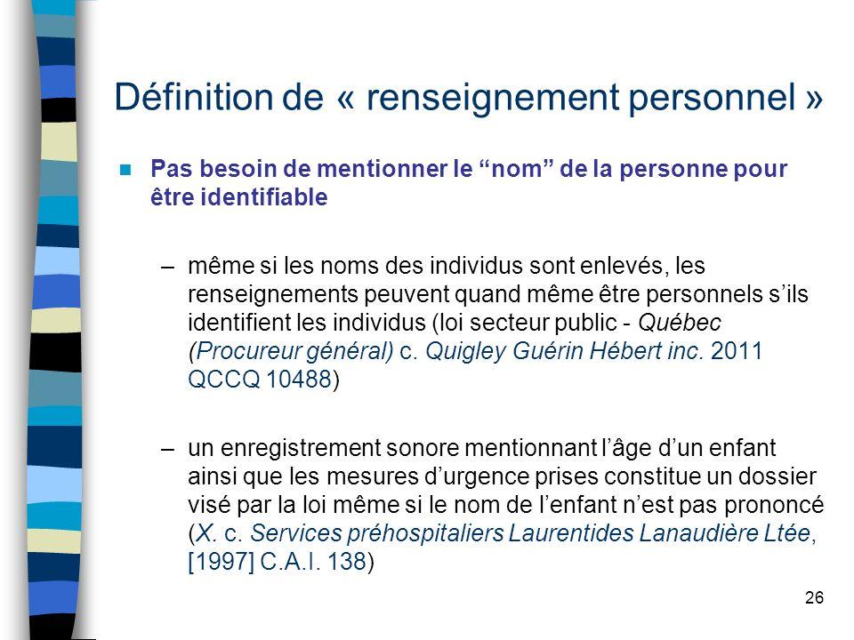 Définition de « renseignement personnel »