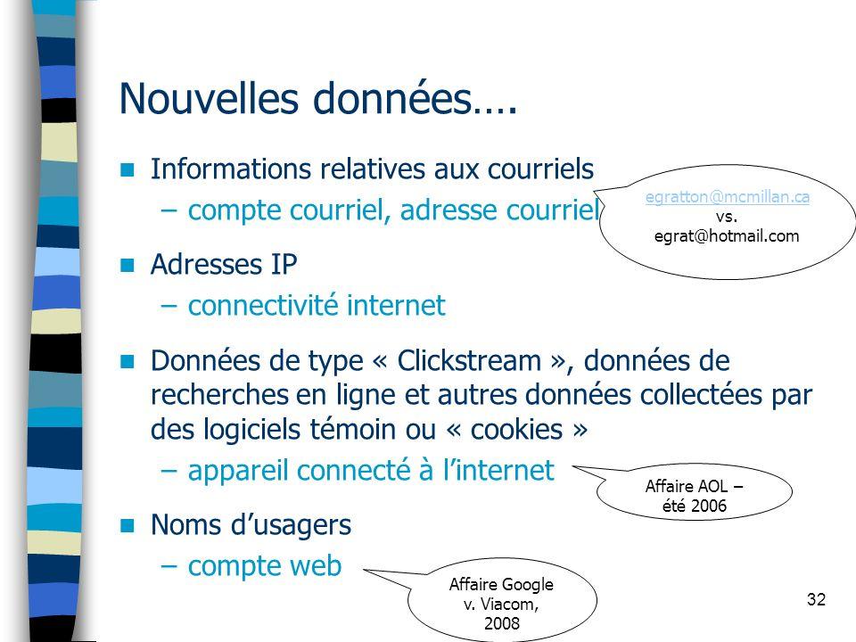 Nouvelles données…. Informations relatives aux courriels