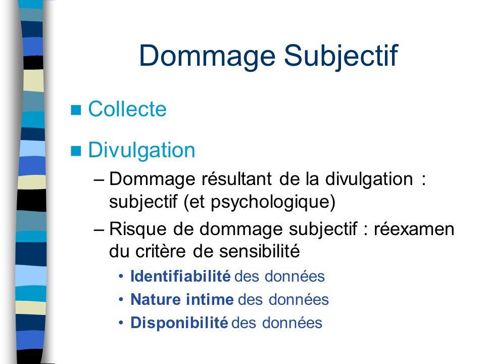 Dommage Subjectif Collecte Divulgation