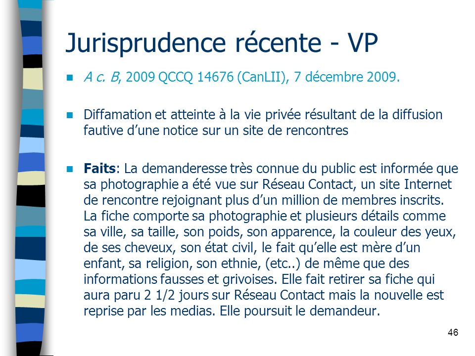 Jurisprudence récente - VP