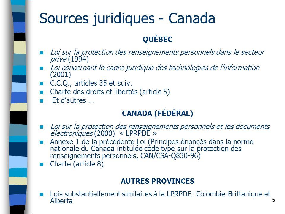 Sources juridiques - Canada