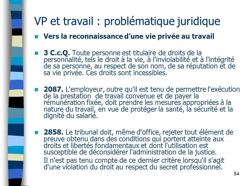 VP et travail : problématique juridique