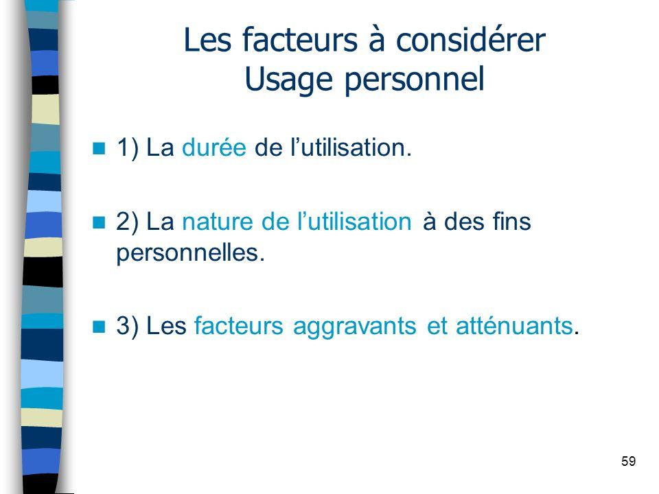 Les facteurs à considérer Usage personnel