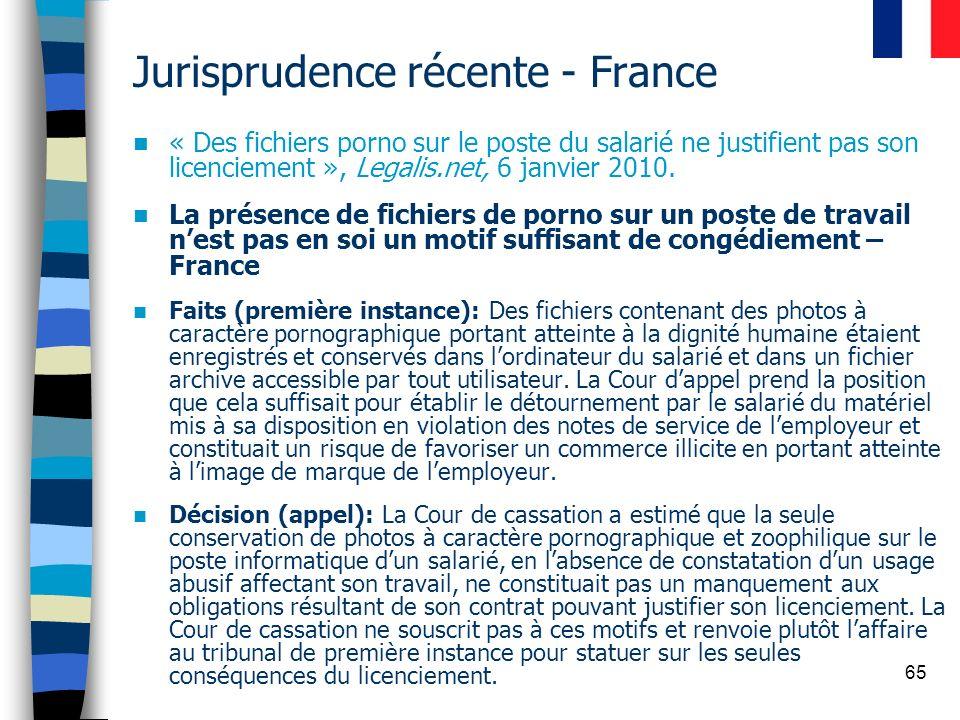 Jurisprudence récente - France
