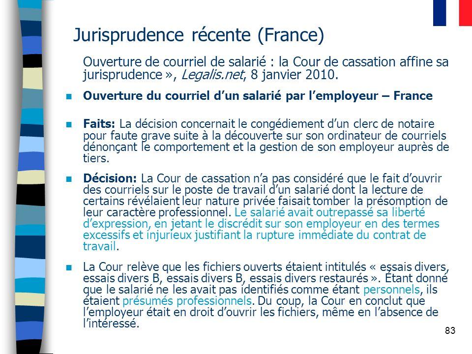 Jurisprudence récente (France)