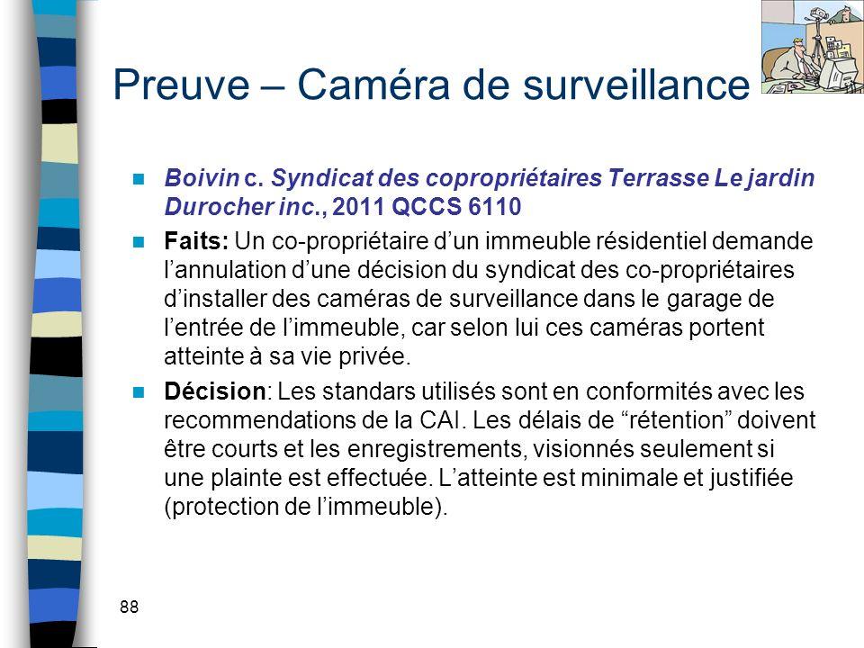 Preuve – Caméra de surveillance