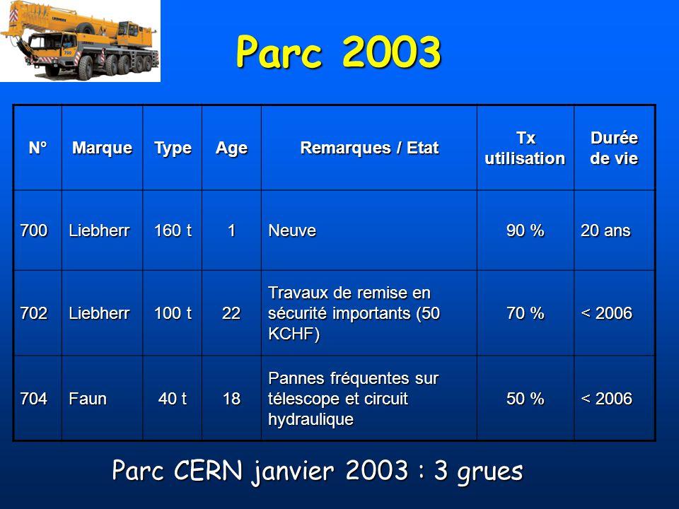 Parc CERN janvier 2003 : 3 grues