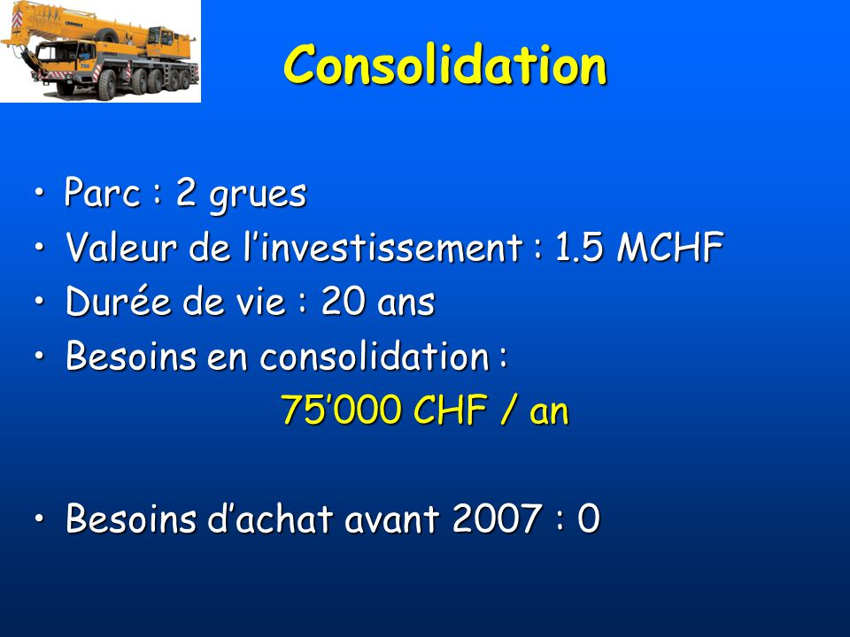 Consolidation Parc : 2 grues Valeur de l'investissement : 1.5 MCHF