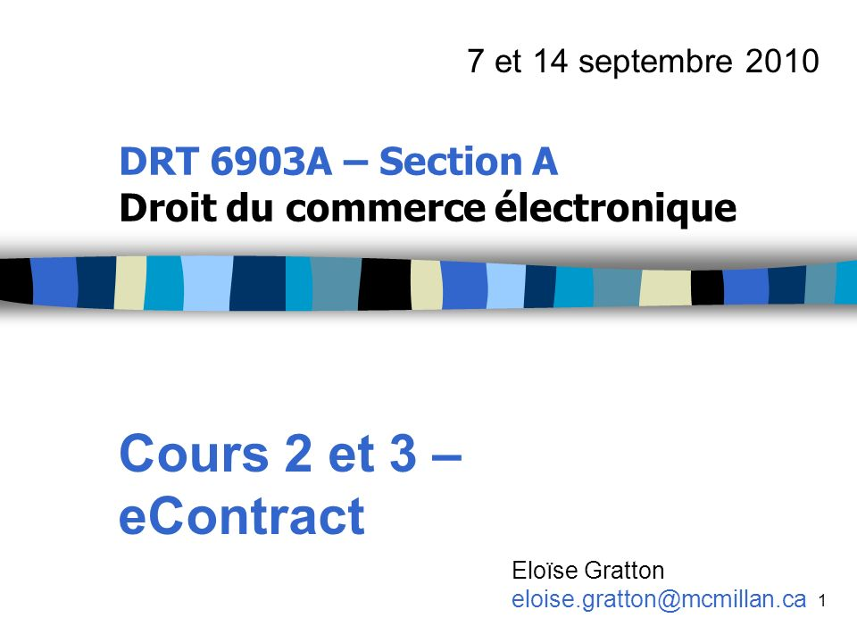 DRT 6903A – Section A Droit du commerce électronique