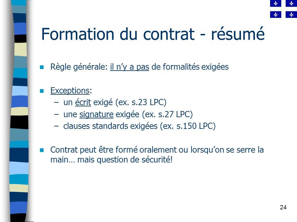 Formation du contrat - résumé