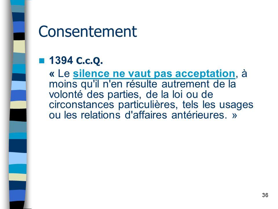 Consentement 1394 C.c.Q.