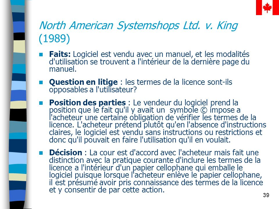 North American Systemshops Ltd. v. King (1989)