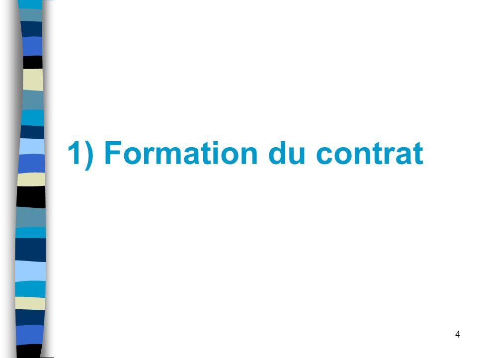1) Formation du contrat
