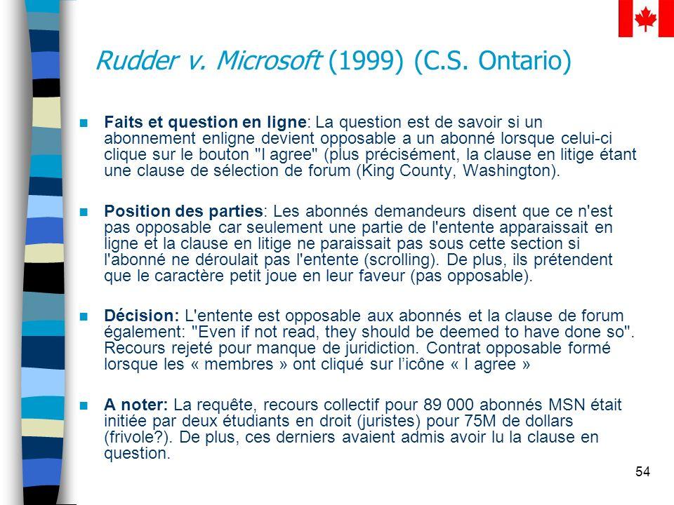 Rudder v. Microsoft (1999) (C.S. Ontario)